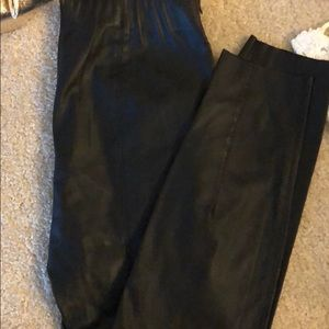 "Zara polyester ""pleather"" leggings with side zip"